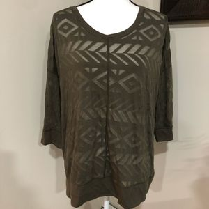 *LANE BRYANT* Brown Sheer 3/4 Sleeve Shirt Top
